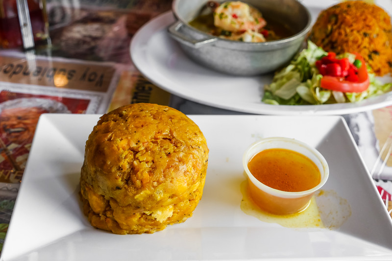 Mofongo served with chicken broth
