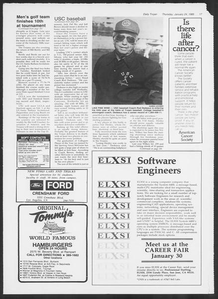Daily Trojan, Vol. 98, No. 10, January 24, 1985