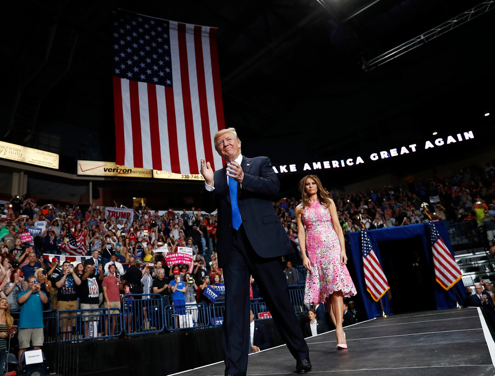 . President Donald Trump and first lady Melania Trump arrive for a rally, Tuesday, July 25, 2017, at the Covelli Centre in Youngstown, Ohio (AP Photo/Carolyn Kaster)
