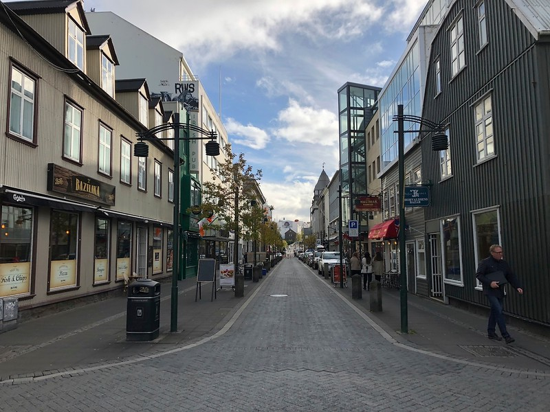 One of the main streets in downtown Reykjavik