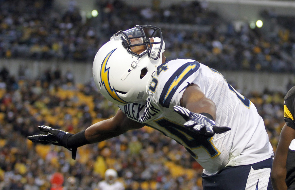 . PITTSBURGH, PA - DECEMBER 9:  Danario Alexander #84 of the San Diego Chargers celebrates after catching a 15 yard touchdown pass in the fourth quarter against the Pittsburgh Steelers during the game on December 9, 2012 at Heinz Field in Pittsburgh, Pennsylvania.  The Chargers defeated the Steelers 34-24.  (Photo by Justin K. Aller/Getty Images)