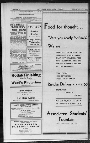Southern California Trojan, Vol. 9, No. 11, August 05, 1930