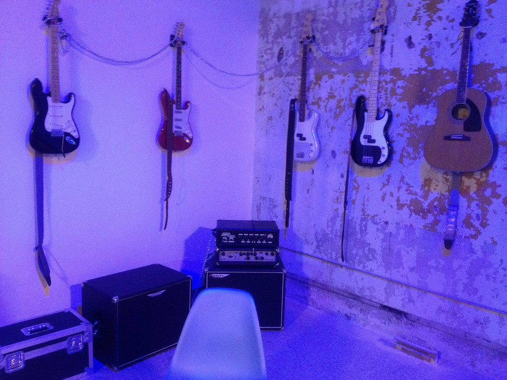 . A selection of instruments lines the walls at the Detroit Institute of Music Education (DIME) temporary facility in downtown Detroit\'s Capitol Park area.