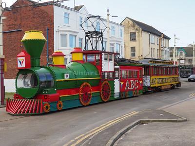 Blackpool Heritage Trams in Rigby Road 18/02/2019