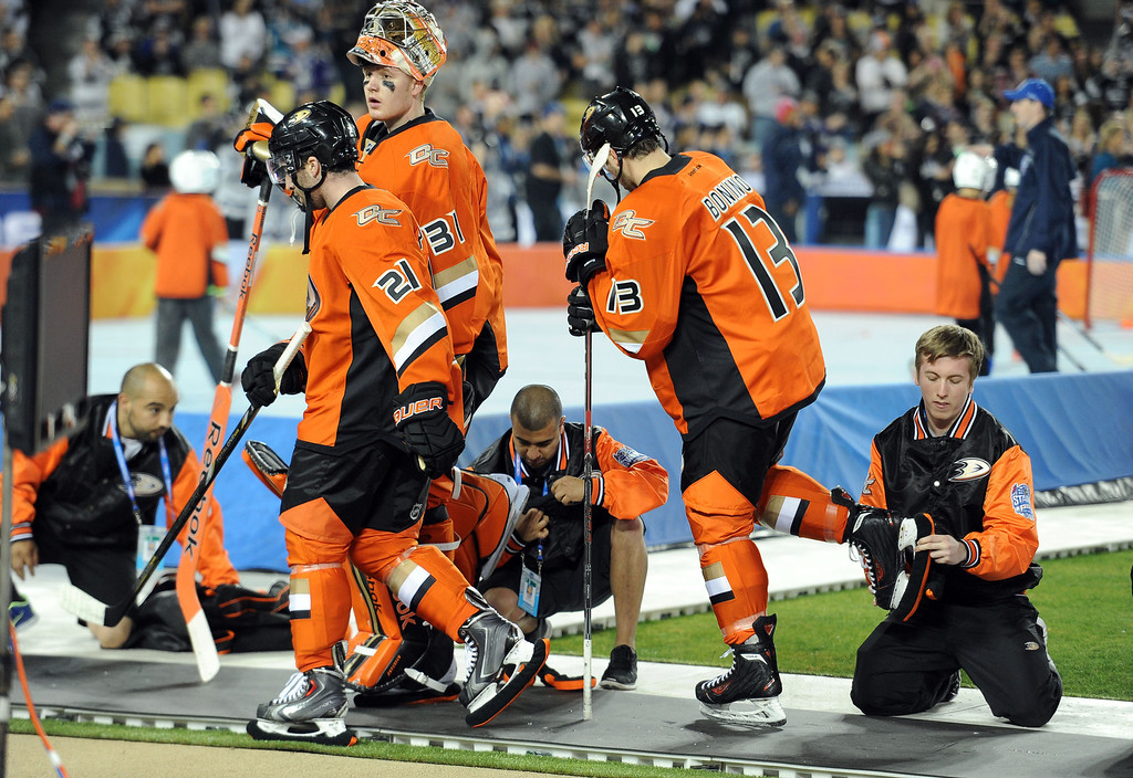 . Anaheim Ducks walk off the ice prior to the inaugural NHL Stadium Series game against the Los Angeles Kings at Dodger Stadium in Los Angeles on Saturday, Jan. 25, 2014. (Keith Birmingham Pasadena Star-News)