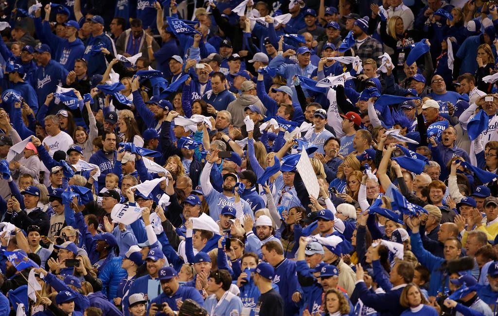 . Kansas City Royals supporters wave towels before Game 6 of baseball\'s World Series between the Kansas City Royals and the San Francisco Giants ` Tuesday, Oct. 28, 2014, in Kansas City, Mo. (AP Photo/Matt Slocum)