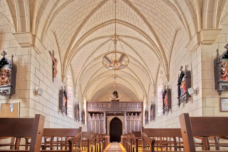 Interior of the Parish Church, town of La Vraie Croix, departament of Morbihan, region of Brittany, France