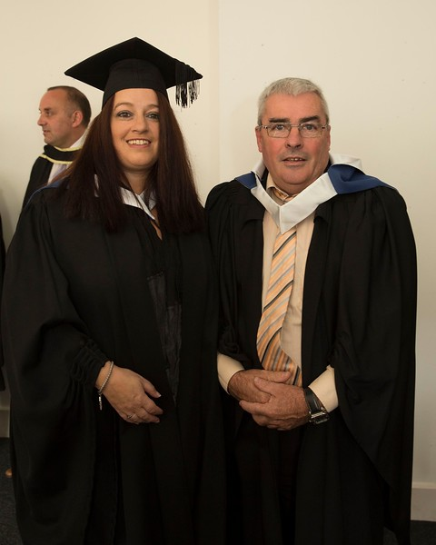 28/10/2015 Image Free to Use. Conferring at Waterford Institute of Technology. l-r; Heather Kiely from Waterford and Gary Walsh from Cappoquin Batchelor of Arts in Community Education & Development .Photo; Mary Browne