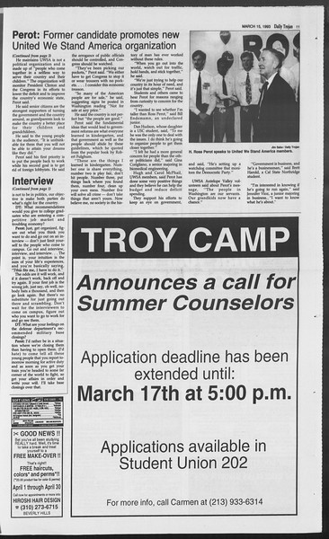 Daily Trojan, Vol. 119, No. 41, March 15, 1993