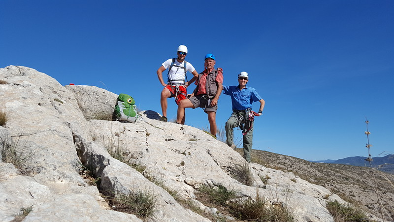Ronny, Alfred and Vic completing the Via Ferrata at Castillo de Salvatierra
