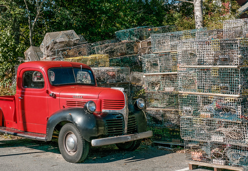 Old Red Truck and Lobster Pots