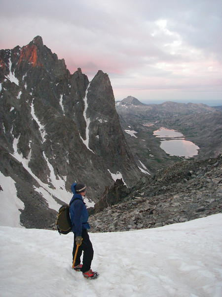 We woke up on Monday August 9th at 3am, had a breakfast, and were at Bonney Pass - 12,831ft (3.911m) at about 6am. Zijo is enjoying the view towards Titcomb Lakes.