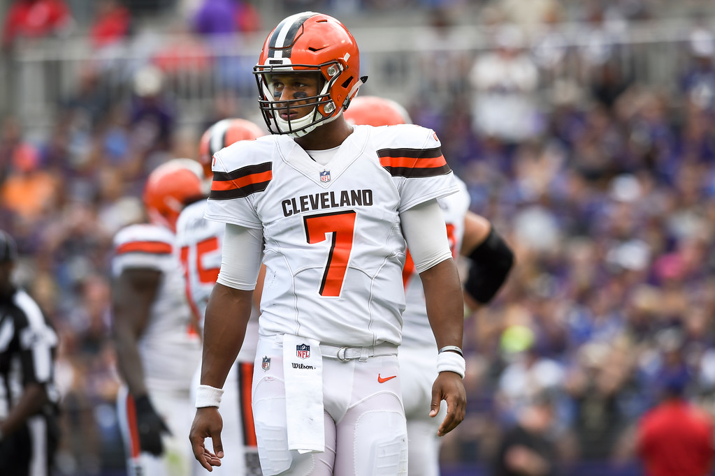 . Cleveland Browns quarterback DeShone Kizer (7) walks off the field during the first half of an NFL football game against the Baltimore Ravens in Baltimore, Sunday, Sept. 17, 2017. (AP Photo/Gail Burton)