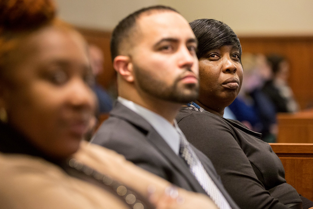 . Ursula Ward, right, mother of Odin Lloyd, attends the murder trial of former New England Patriots player Aaron Hernandez at Bristol County Superior Court in Fall River, Mass., Tuesday, Feb. 3, 2015. Hernandez is accused of the June 2013 killing of Odin Lloyd. (AP Photo/The Boston Globe, Aram Boghosian, Pool)