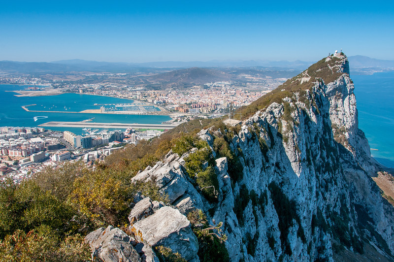 The rugged cliffs and city skyline at Gibraltar