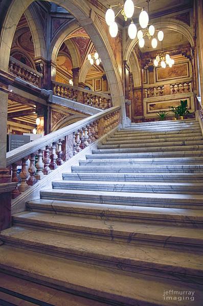 The marble staircase inside Glasgow City Chambers.  This is an amazing building.  marbled and ornate all over.  A handheld HDR.