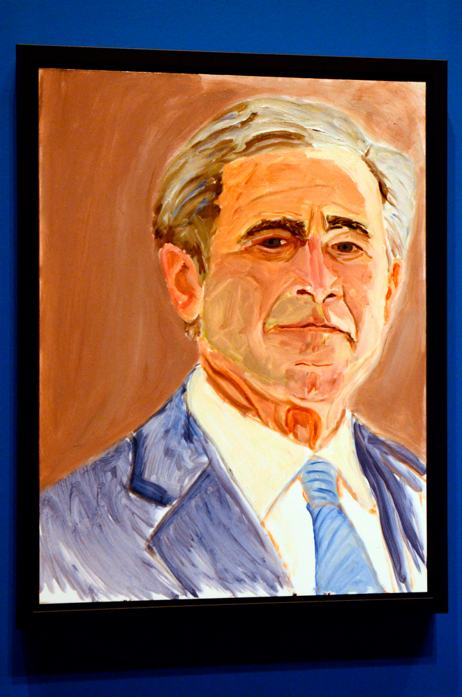 """. A self portrait of former President George W. Bush which is part of the exhibit \""""The Art of Leadership: A President\'s  Diplomacy,\"""" is on display at the George W. Bush Presidential Library and Museum in Dallas, Friday, April 4, 2014. (AP Photo/Benny Snyder)"""