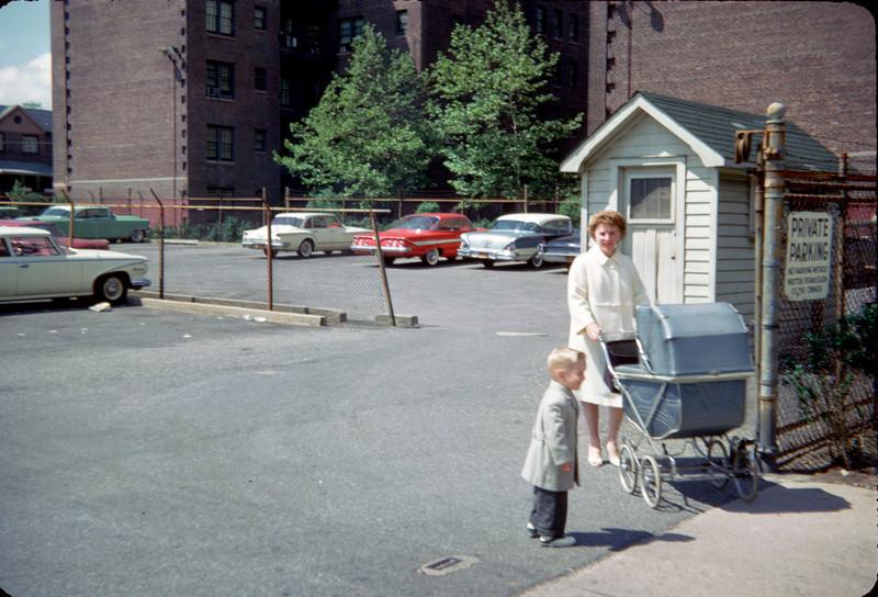 robert mommy with pram parking lot entrance.jpg