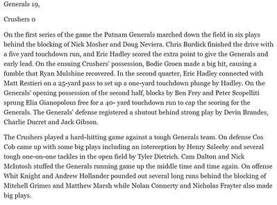 11-10-13 Playoffs Generals 19 Crushers 0