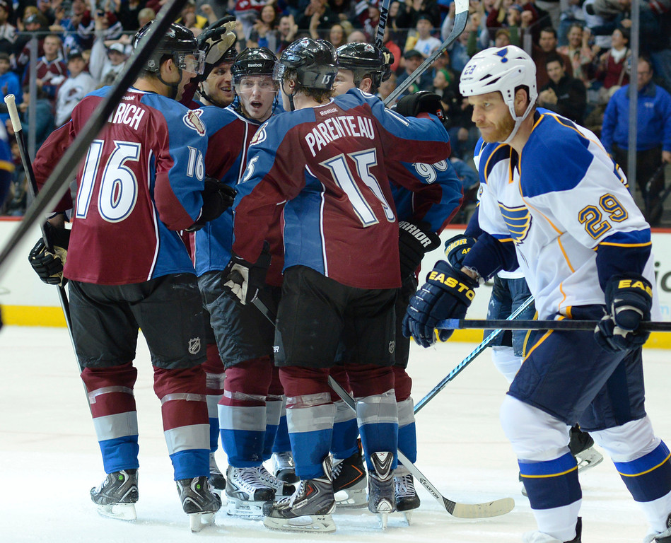 . The Avalanche celebrated a third period goal Saturday. The St. Louis Blues defeated the Colorado Avalanche 2-1 at the Pepsi Center Saturday afternoon, March 8, 2014 in Denver, Colorado. (Photo by Karl Gehring/The Denver Post)