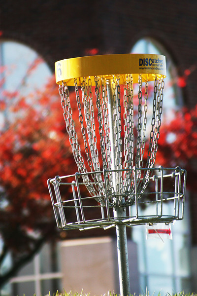 One of the many disc golf stands on the campus of Gardner-Webb University.