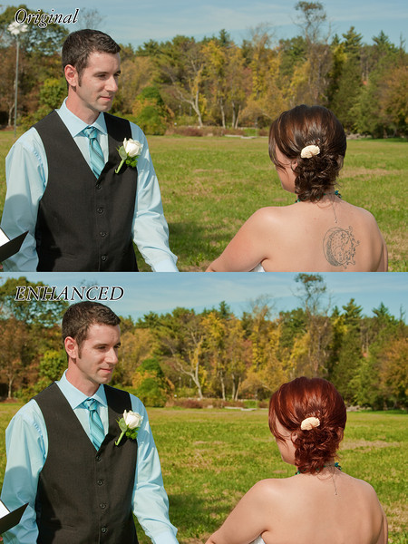 Another from a wedding I shot. I removed a light post in the left of the photo, zapped the bride's back tattoo, and then colored her hair. I finished up with some detail enhancement, and some selective color pop.