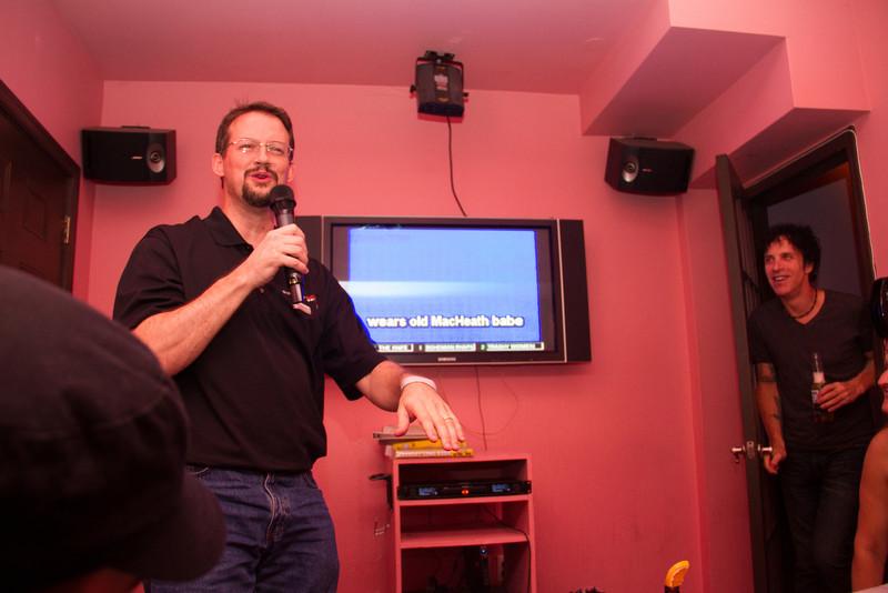 Jim Bob singing Mac the Knife in our private karaoke room.