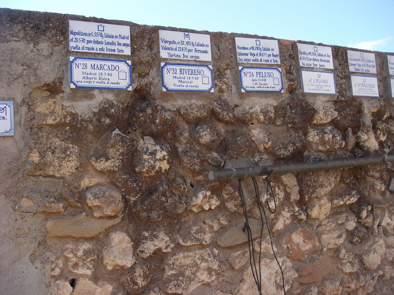 The names of the noteworthy bulls killed in corridas (bull fights), the name of the matador, sometimes the weight of the toro (the tiles are on the bullring wall).