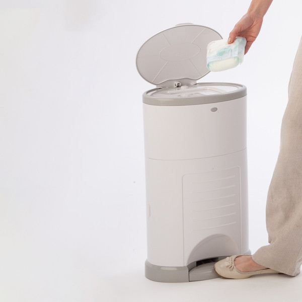 Korbell_Nappy_Bin_Product_Shot_Plus_26L_Pure_White_Side_Angle_In_Use_FILL.jpg