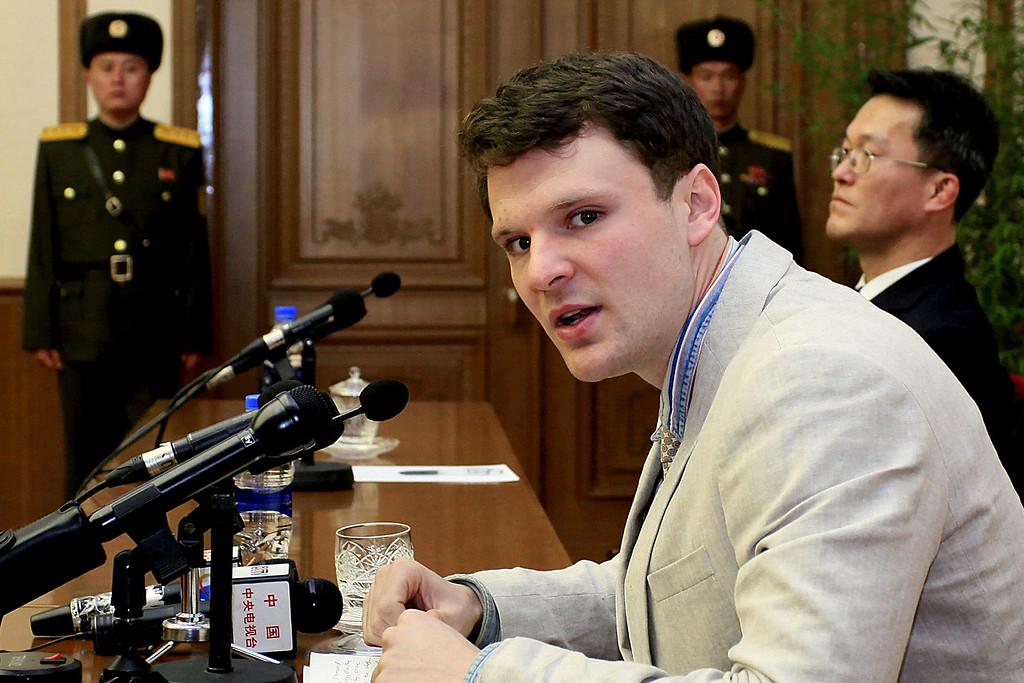 . FILE - In this Feb. 29, 2016, file photo, American student Otto Warmbier speaks as he is presented to reporters in Pyongyang, North Korea. Warmbier, an American college student who was released by North Korea in a coma last week after almost a year and a half in captivity, died Monday, June 19, his family said. (AP Photo/Kim Kwang Hyon, File)