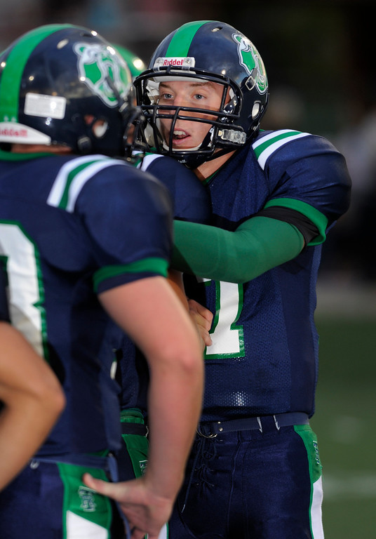 . HIGHLANDS RANCH, CO. - SEPTEMBER 13: Grizzlies\' quarterback Brody Westmoreland got his teammates fired up before the game. The ThunderRidge High School football team hosted Grandview at Shea Stadium Friday night, September 13, 2013.  Photo By Karl Gehring/The Denver Post