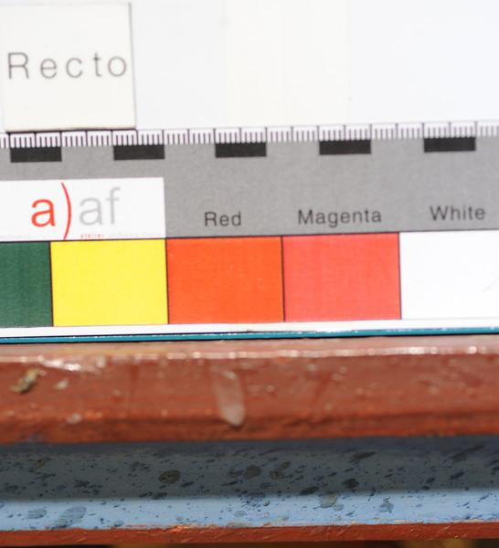 Vorzustand: Anna Altar, Predella, Vorderseite Mitte Oben, Wachsflecken auf dem übermalten blauen Fries AAF_0983_27-10-2011