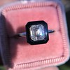 1.19ct Vintage Emerald Cut Diamond Onyx Ring, GIA E VS2 0