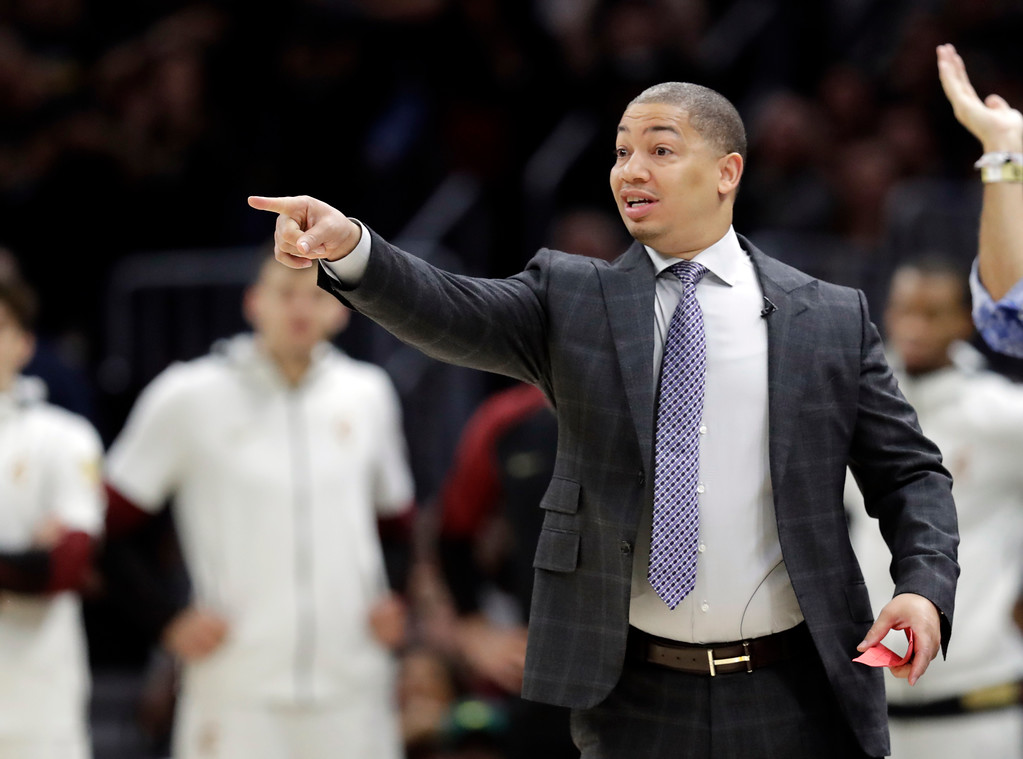 . Cleveland Cavaliers coach Tyronn Lue shouts instructions during the first half of Game 3 of basketball\'s NBA Finals, against the Golden State Warriors on Wednesday, June 6, 2018, in Cleveland. (AP Photo/Tony Dejak)