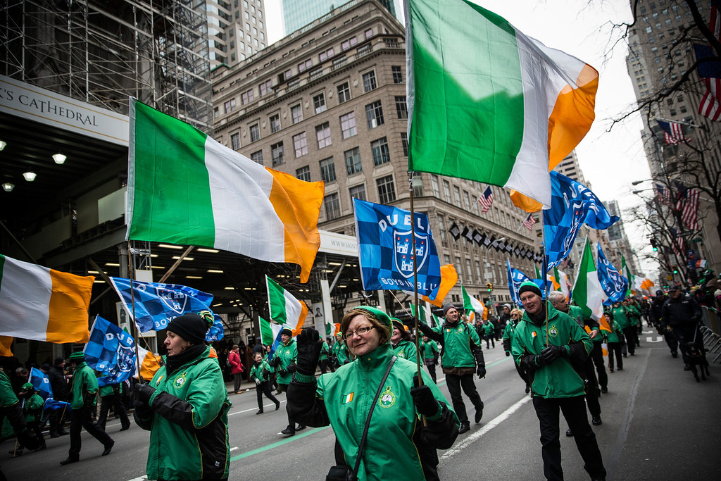 . Revelers march in the annual St. Patrick\'s Day Parade along Fifth Ave in Manhattan on March 17, 2014 in New York City. (Photo by Andrew Burton/Getty Images)