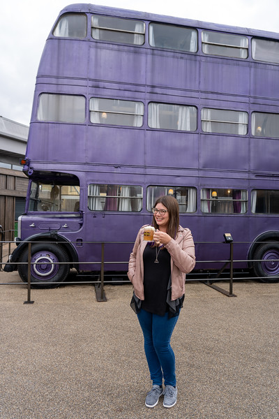 Butterbeer in front of the Knight Bus
