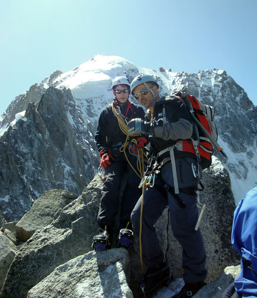 Our guide 'challenged' us on Day 3, with an ascent of a 90 m 70 degree ice face, leading up to the summit of Petite Verte here. It was utterly terrifying, but our success allowed us to proceed to the main ascent of Mt Blanc the next day.