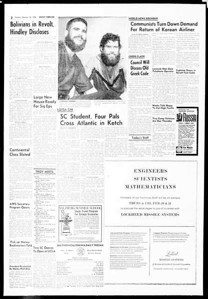 Daily Trojan, Vol. 49, No. 68, February 18, 1958