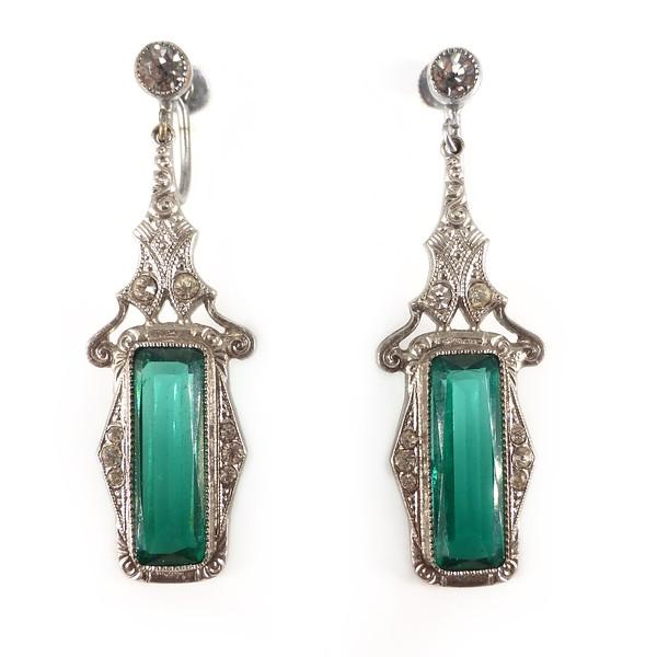 Vintage Art Deco Rhodium Plated Green Paste Drop Earrings