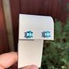3.47ctw Blue Zircon Hexagon Stud Earrings 9