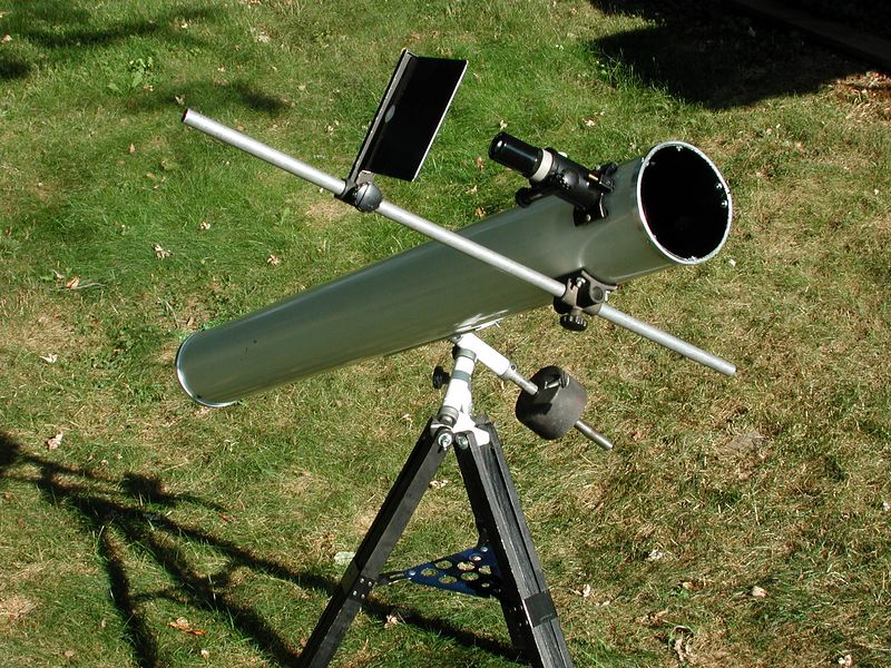 Here is one of my 4.25 inch reflecting telescopes. This telescope has a sun projecting screen attached to the side of the tube. You can observe the sun with out the worry of loosing your sight because the intense solar image is projected onto the screen. The projected image is quite safe then to look at.