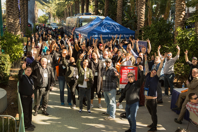 2017_01_26, Anaheim, CA, NAMM, gabe smith, owc, tents and tours, bus exterior, giveaways, crowd, peace signs,