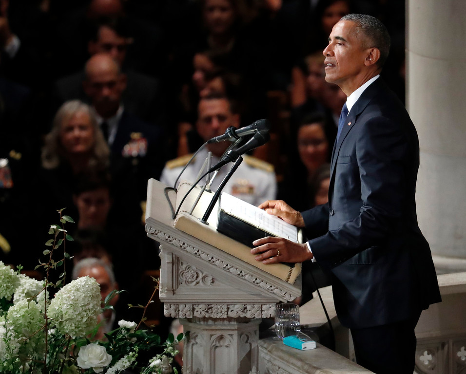 . Former President Barack Obama speaks at a memorial service for Sen. John McCain, R-Ariz., at Washington National Cathedral in Washington, Saturday, Sept. 1, 2018. McCain died Aug. 25, from brain cancer at age 81. (AP Photo/Pablo Martinez Monsivais)