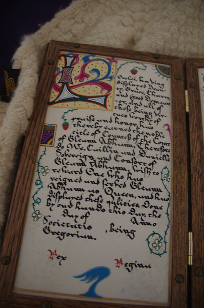 Countess scroll for Lorelei Caligraphy - Iain Clerk of the Argent Lion Illumination - Sir Neil Gray
