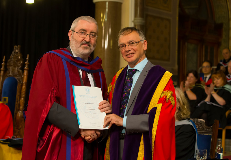 02/11/2017. Waterford Institute of Technology Conferring is Christopher Mac Auliffe who was conferred a PhD, also pictured is Prof. Willie Donnelly, President of WIT.  Picture: Patrick Browne.