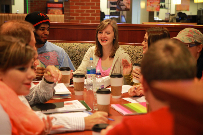 Class meeting in the Tucker Student Center food court.