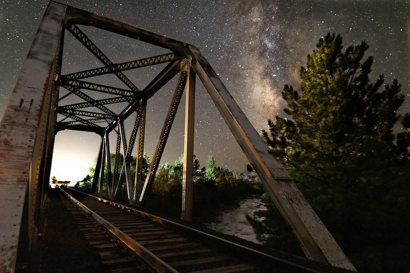 Milky Way Over Railroad Bridge