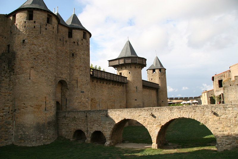 Carcassone (the old city walls and entrance over empty moat).