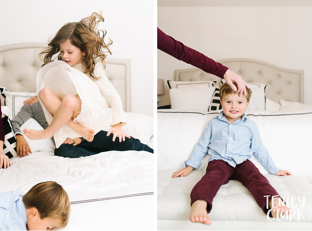 Little girl jumping on bed. Boy having hair combed out of face.  Lifestyle in-home family photoshoot in Marin, CA by Tenley Clark Photography.