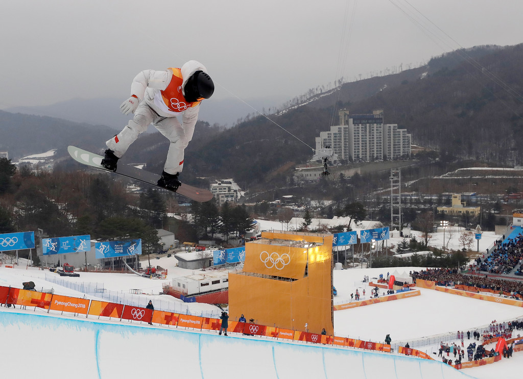. Shaun White, of the United States, jumps during the men\'s halfpipe finals at Phoenix Snow Park at the 2018 Winter Olympics in Pyeongchang, South Korea, Wednesday, Feb. 14, 2018. (AP Photo/Kin Cheung)